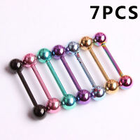 New 7Pcs 14G 316L Surgical Steel Barbell Bar Tongue Ring Stud Piercing Pin