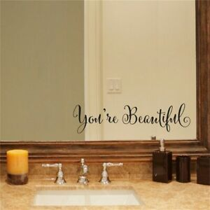 Bathroom Wall Stickers Art You're Beautiful Mirror Quote Decal Living Home Decor