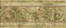 Victorian Antique Gold Green Scroll Acanthus Leaf Silk Vinyl Wallpaper Border
