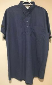 Waffle House Blue Large Short Sleeve Collared Work Uniform Shirt With Pocket