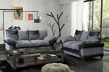 New Jumbo Dino Sofas 3 + 2 Seater Set Fabric Scatter Back Black & Grey