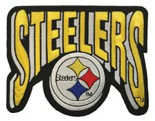 "LARGE Pittsburgh Steelers Logo & Text Iron On Embroidered Football Patch (5""x4"")"