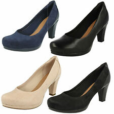 LADIES CLARKS SUEDE LEATHER SLIP ON WIDE FORMAL HEELED COURT SHOES CHORUS CHIC