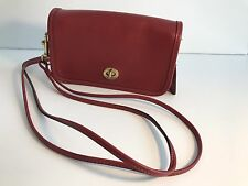 """Vintage Coach NYC """"Penny"""" Small Leather Double Strap Cross body Bag - Red"""