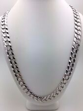"Solid 10K White Gold Cuban Link Chain Necklace 22"" 9.5mm 45-48 grams"