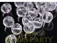 20pcs 8mm 96 Facets Round Faceted Loose Spacer Crystal Glass Beads Bulk Clear