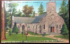Old Postcard Community Chapel, Big Moose. NY, Adirondack Mountain