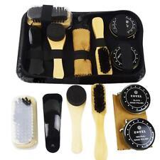 8X Shoe Shine Polish Cleaning Care Brushes Sponge Cloth Kit Set Travel With Case