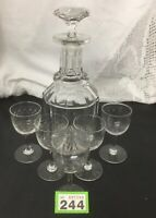 HEAVY Antique Crystal Glass Decanter with Set Of 5 Stemmed Etched Glasses