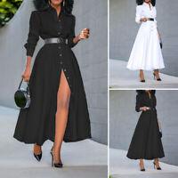 Plus Size Womens Button Formal Shirt Long Dress Long Sleeve Blouse Split Dress