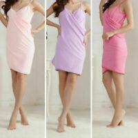 HOT Women Wearable Bath Microfiber Towel Robe FastDrying Bathrobe Spa Wrap Dress