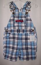 New with tags Little Boys J Khaki firetruck plaid short overalls 18 mo