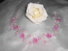 Kopfschmuck für Hochzeit/Kommunion Altrosa/Rosa