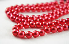 110pcs Beads- 8mm Red Color Faux Imitation Acrylic Round Loose Pearl Spacer