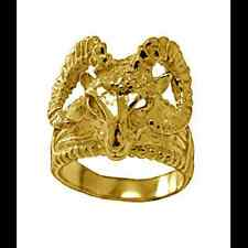 LOOK New Very detailed Ram Heavy Gold plated over real Sterling Silver .925 Ring