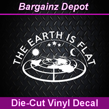 ..Vinyl Decal  THE EARTH IS FLAT ..  Sticker 3D Looking Flat Earth Map Decal