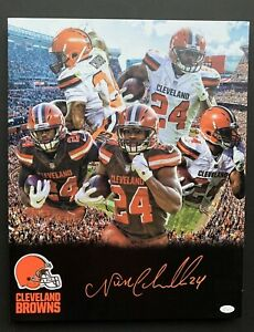 Nick Chubb Signed Autograph Browns Canvas RARE 16 By 20 Huge JSA