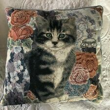 "Cat Accent Pillow Tapestry Kitten In Flower Garden Blue by ANNE MORTIMER 16"" sq"