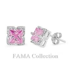 Stunning FAMA  Princess Cut Pink CZ 925 Sterling Silver Earrings with Paved CZ
