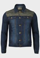 Mens Denim Jackets Panelled Design Contrast Stitching with labels - S M L XL