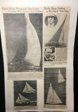 Vintage Americas Cup Sailing Newspaper Flaming Ship Clippings 1930s 2 Sided