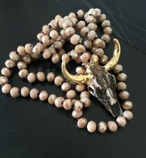 Free shipping Knotted  Glass Crystal  w Long horn Steer pendant Necklace Woman