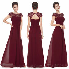 Ever-Pretty Long Lace Cap Sleeve Burgundy Bridesmaid Party Evening Gown 09993
