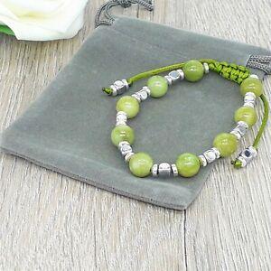 Handmade Adjustable Chinese Green Jade Gemstone Cord Bracelet & Velvet Pouch.