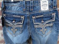 NWT Rock Revival Sebastian J12 Blue Straight Flap Pocket Distressed Size 32x34