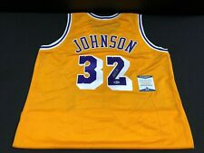 MAGIC JOHNSON LOS ANGELES LAKERS SIGNED STITCHED JERSEY BECKETT COA l15248