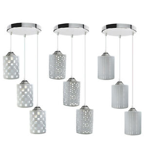 3 Way Ceiling Light Pendant White Cage Hanging Lamp Design Shades Modern Fitting