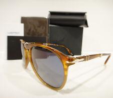 Persol 9714 Sunglasses Folding 9-714 Blue 102556 Light Havana Authentic New 52m