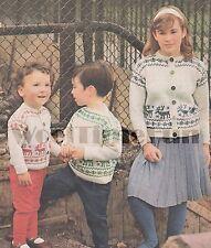 Vintage Knitting Pattern Childs Fair Isle Xmas/Reindeer/Skiing Jumper & Cardigan