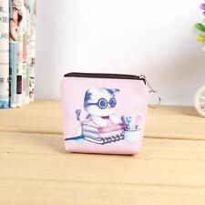 Cartoon Cat Women Girl Leather Zip Coin Purse Key Card Bag Lady Wallet a1