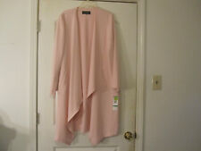 Evan-Picone Black Label Womens Open Front Asymmetrical Duster Pink LS Size Large