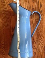 Vintage French Enamel Tall Water Pitcher Eggshell Blue Enamelware France