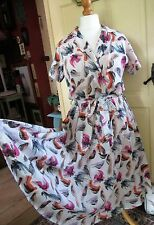 Love Ur Look 1950's Style-Up-Cycled Cotten Dress-Bird Pattern Size M *BNWT*