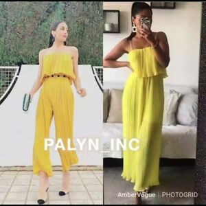 NWT ZARA YELLOW PLEATED JUMPSUIT WITH STRAPS 4786/060