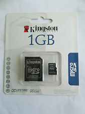 Kingston SDC/1GB 1GB MicroSD Micro SD Card + Full Size SD Card Adapter NEW NIB