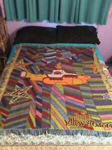 Vintage Beatles Yellow Submarine Woven Afghan Blanket 44 x 54 Groovy Colorful
