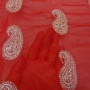 Indian Dupatta Long Shawl Red Embroidered Stole Vintage Odhani Stole EMBDP8554