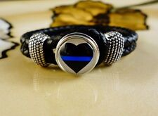 THIN BLUE LINE HEART POLICE SNAP BUTTON ON BLACK leather gift bracelet