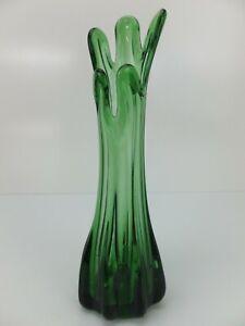 Vintage GREEN GLASS Slim Vase with Wave Rim