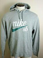 Nike SB Mens Logo Pullover Hoodie Sweatshirt Grey White Green Size Large NWT
