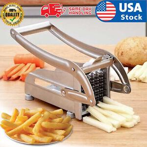 Stainless Steel French Fry Cutter Vegetable Potato Chopper Slicer Dicer 2 Blades