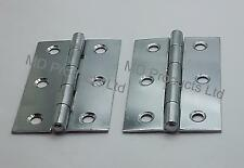 """1 x Pair of 3"""" (75mm)  Chrome Plated Steel Butt Door Hinges - Fixed Pin"""
