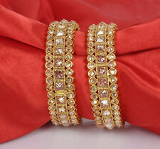 Indian Kundan Jewelry Bangle Bracelet 2 Ethnic Traditional Set Bollywood Kada
