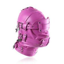 Hot Pink Lockable Soft PU Leather Gimp Hood Sensory Deprivation Mask UA648