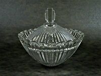 """Mikasa Marquette Candy Dish Ribbed Glass Art Deco Style 4 3/8"""" Crystal Clear"""
