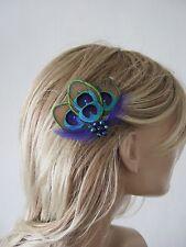 "Made in uk peacock pince à cheveux plume bleu marine vert noël party ""Noa"""
